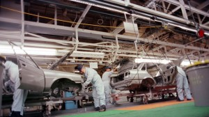 The assembly line at the New United Motor Manufacturing Inc., plant in Fremont, Calif., in 1985. (AP Photo/Paul Sakuma, File)