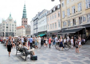 Stroget shopping street in Copenhagen, Denmark