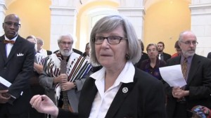Sister Simone Campbell speaks at a rally of the faithful on Capitol Hill on Tuesday, October 15, 2013.