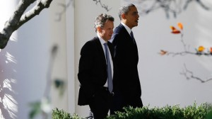 Timothy Geithner walks with President Obama. He has taken a job as president of private-equity firm Warburg Pincus
