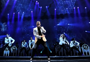 Justin Timberlake performs onstage on The 20/20 Experience World Tour, at Staples Center, on Tuesday, Nov. 26, 2013 in Los Angeles. (Photo by Frank Micelotta/Invision/AP)