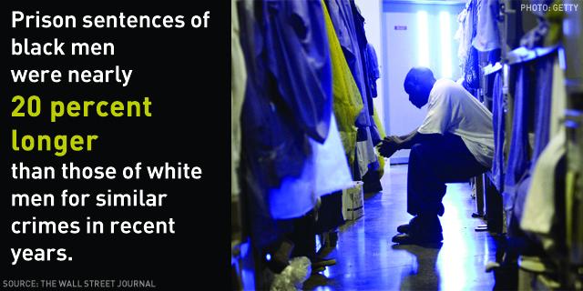 Prison sentences of black men were nearly 20 percent longer than those of white men for similar crimes in recent years.