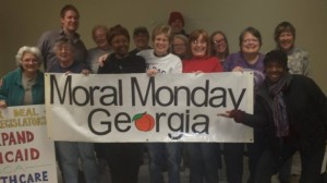 Banner of moral monday protesters in georgia
