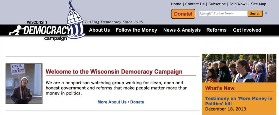Screenshot: Wisconsin Democracy Campaign website