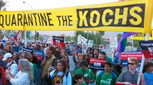 Protesters fill the corner of Bob Hope and Rancho Las Palmas in Rancho Mirage CA as they march against a conservative strategy meeting hosted by the Koch brothers, Sunday, January 30, 2011. Crystal Chatham,The Desert Sun.
