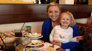 Cailyn Pierson and her mother visit Olive Garden in Naperville, Ill., on Take Our Daughters and Sons to Work Day. (Scott Boehm/AP Images for Olive Garden)