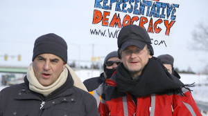 Lawrence Lessig marching in New Hampshire. (John Light)
