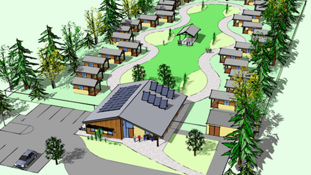 An architect's rendering of Quixote Village in Olympia, Wash. Image courtesy of Panza.
