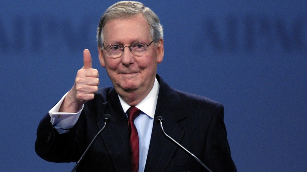 Senate Minority Leader Mitch McConnell, R-Ky., gives a thumbs-up as he finishes his address to the American Israel Public Affairs Committee (AIPAC) Policy Conference in 2012. (AP Photo/Cliff Owen)
