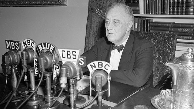 President Franklin D. Roosevelt broadcasts his annual message to Congress, Jan. 11, 1944, in Washington. The president topped a five-point victory program with a recommendation for national service legislation to make all able-bodied adults available for the war effort. (AP Photo)