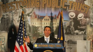 Gov. Andrew Cuomo delivers speech in support of campaign finance reform at the University at Buffalo Law School in Amherst, N.Y., on Wednesday, June 12, 2013. (AP Photo/The Buffalo News, John Hickey)
