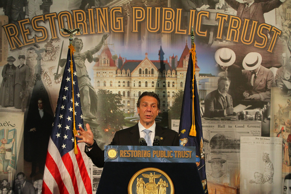 Gov. Andrew Cuomo  delivers speech in support of campaign finance reform at the University at Buffalo Law School in Amherst, NY, June 12, 2013. (AP Photo/The Buffalo News, John Hickey)