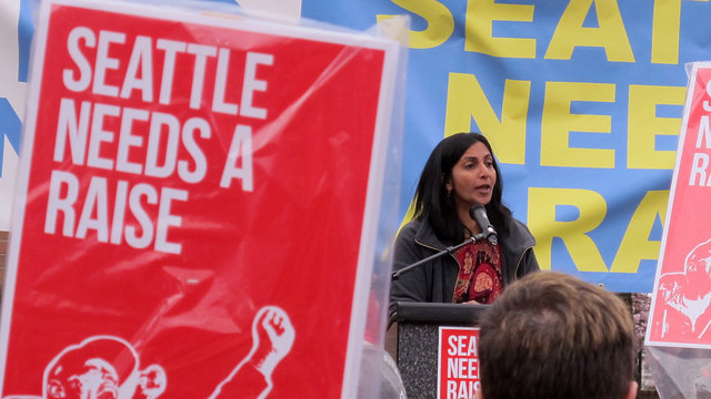 """Kshama Sawant speak at a March 15, 2013, """"March for $15"""" rally in Seattle. (Image: Flickr/ Shannon Kringen)"""