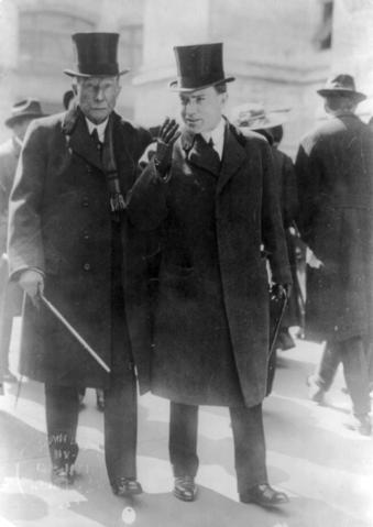 John D. Rockefeller Jr., and his father John D. Rockefeller in 1915.