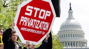 Protestors hold up a placard during a rally against the privatization of Social Security, on Capitol Hill, Tuesday, April 26, 2005, in Washington. (AP Photo/Manuel Balce Ceneta)