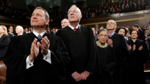 Supreme Court Justices, from left, Chief Justice of the United States John Roberts, Associate Justices of the Supreme Court Anthony Kennedy, Ruth Bader Ginsburg, Stephen Breyer, Sonia Sotomayor and Elena Kagan applaud State of the Union Address,12 Feb 2013 (Rex Features via AP Images)