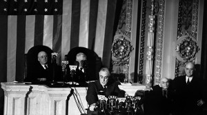 President Franklin D. Roosevelt delivering his famous 'Four Freedoms' speech to the joint session of Congress on January 6, 1941. (AP Photo/George R. Skadding)