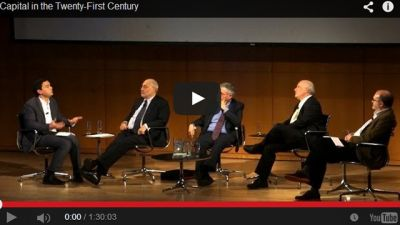 Thomas Piketty at the CUNY forum with Paul Krugman, Joseph Stiglitz and Steven Durlauf, April 2014. (CUNY Forum, youtube)