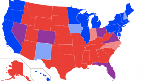 Red and blue state map, based on returns in last four presidential elections. (Wikimedia Commons/ Angr)