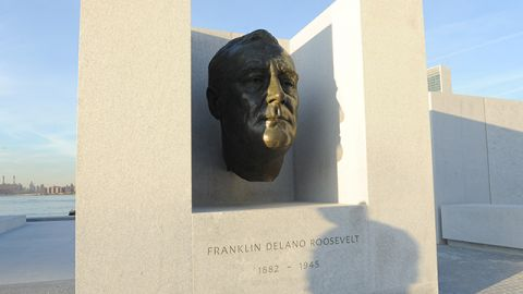 A bronze bust of Franklin D. Roosevelt sits in an alcove at the south end of the new Franklin D. Roosevelt Four Freedoms Park in New York, Wednesday, Oct. 17, 2012. The park, designed by renowned architect Louis I. Kahn, is named after Roosevelt's 1941 State of the Union address, known as the Four Freedoms Speech. (Photo by Diane Bondareff/Invision/AP Images)