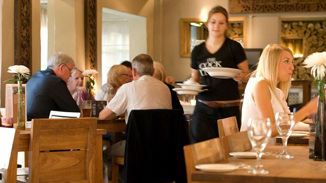Waitress in restaurant