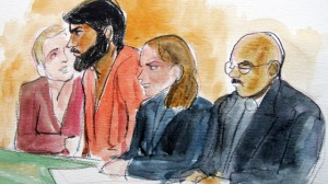 Artist drawing of terror suspect Hamid Hayat, second from left, sits with with unidentified translator, far left, attorney Wazhma Mojaddidi, second from right, and attorney Johnny Griffin, right, in a federal court in Sacramento, Calif., Friday, June 10, 2005. (AP Photo/Joan Lynch)