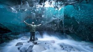 cave in glacier, scientist, climate change