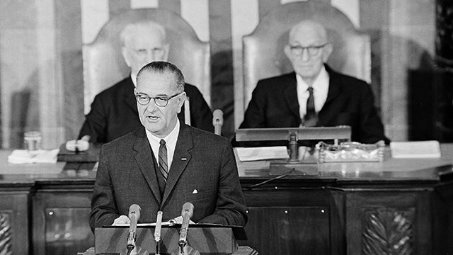 Lyndon Johnson in his State of the Union message on Jan. 8, 1964.