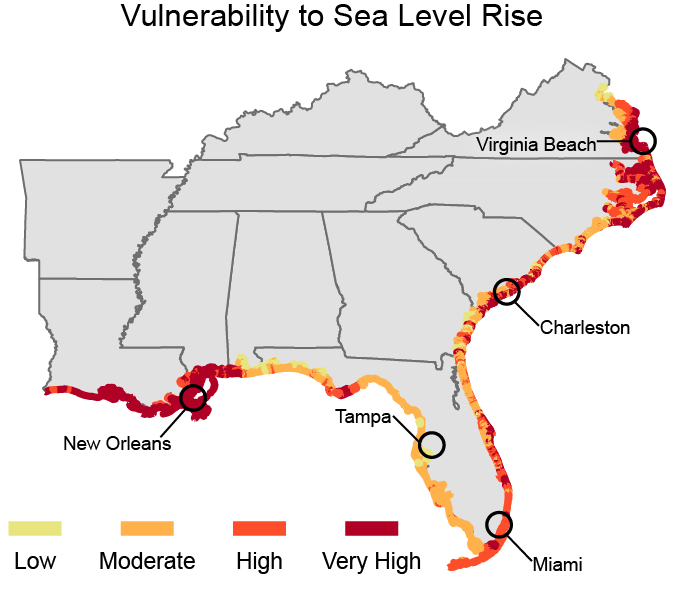Vulnerability to Sea Level Rise (Image: National Climate Assessment)