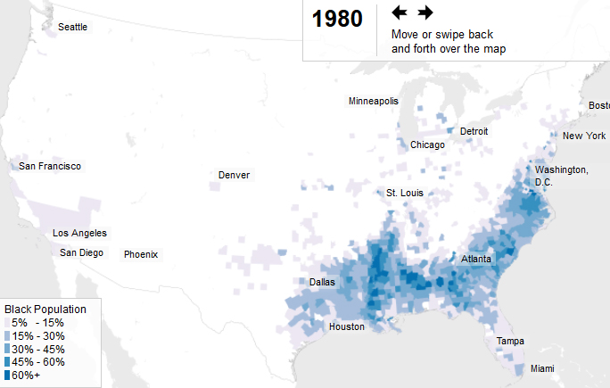 In the early 1900s, African-Americans abandoned the South for better lives in the North. Discriminatory landlords and government policies crowded them into ghettos, transforming the demographics of America's largest cities. (ProPublica/Jeff Larson and Al Shaw, data from NHGIS)