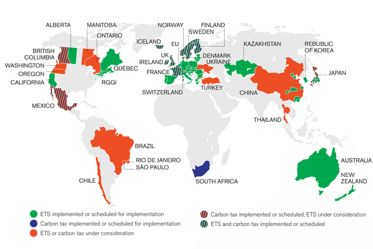 World Bank map of Carbon Pricing