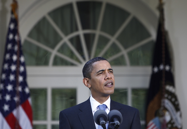 President Barack Obama speaks about health care reform in the Rose Garden of the White House. (AP Photo/Ron Edmonds)