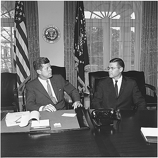 President John F. Kennedy and Robert McNamara. (Wikimedia commons)