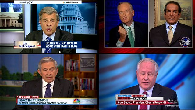 (Top left-clockwise) Paul Bremer; Bill O'Reilly with Charles Krauthammer; Paul Wolfowitz and Bill Kristol.