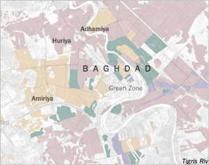 Map of how religious sects were reorganized in Baghdad neighborhoods after the war. (Credit: The New York Times)