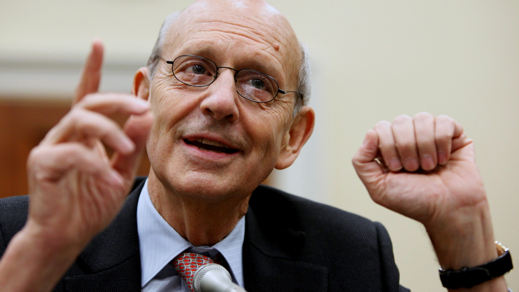 Supreme Court Justice Stephen Breyer testifies on Capitol Hill in Washington, April 23, 2009, before the House Financial Services and General Government subcommittee hearing. (AP Photo/Manuel Balce Ceneta)