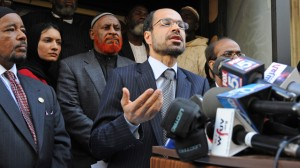 Nihad Awad, National Executive Director of the Council on American-Islamic Relations, speaks at a news conference in front of the proposed Islamic center and mosque site near ground zero, Monday, Sept. 20, 2010, in New York. A number of local and national American Muslim leaders spoke at the site to support efforts to build an Islamic center at 51 Park Place. (AP Photo/ Louis Lanzano)