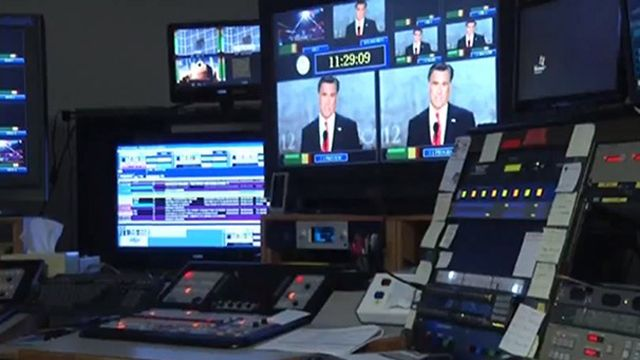 A control room at television station WDBJ7 in Roanoke, Virginia -- a swing-state television market slammed with attack ads during the 2012 election cycle. (AP Photo/AP Video)