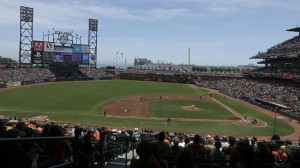The San Francisco Giants play the Colorado Rockies during the first inning of a baseball game at AT&T Park in San Francisco, Saturday, June 14, 2014. (AP Photo/Jeff Chiu)