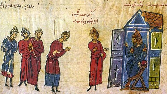 Byzantine emissaries to the Caliph. By Unknown, 12th/13th century author [Public domain], via Wikimedia Commons