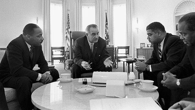 President Lyndon B. Johnson meets with Civil Rights leaders Martin Luther King, Jr., Whitney Young, James Farmer (Wikimedia Commons)