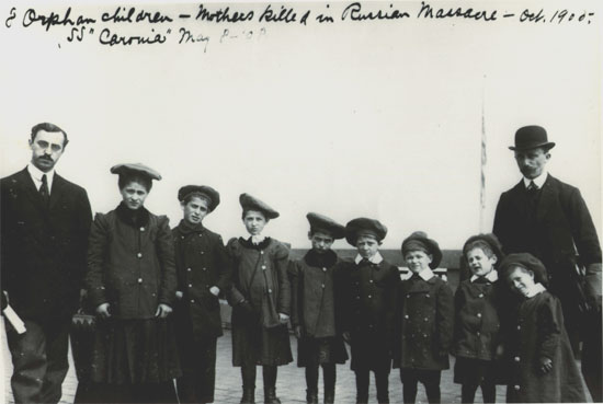 Eight orphan children whose mothers were killed in a Russian pogrom. They were brought to Ellis Island in 1908. Augustus Sherman/National Parks Service