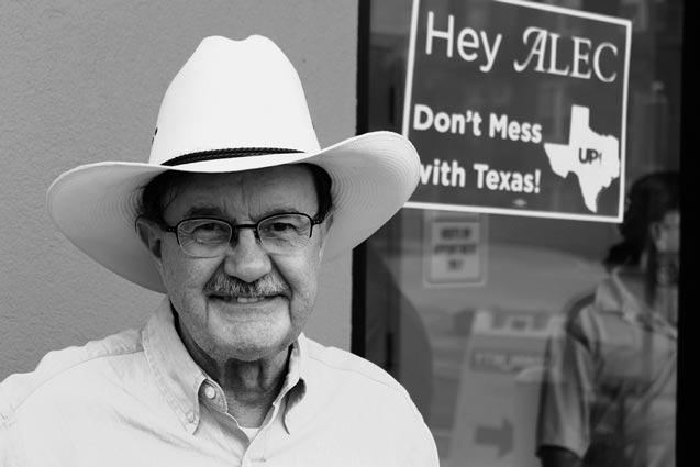 Jim Hightower outside the Community Beer Company brewery after a demonstration against ALEC in Dallas Wednesday, July 31, 2014. (Photo: Candice Bernd)