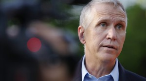 US Senate candidate, Thom Tillis, speaks with media on May 5, 2014. (AP Photo/The Charlotte Observer, Abbi O'Leary)