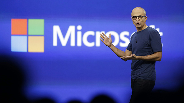 In this April 2, 2014, file photo, Microsoft CEO Satya Nadella gestures during the keynote address of the Build Conference in San Francisco. (AP Photo/Eric Risberg, File)