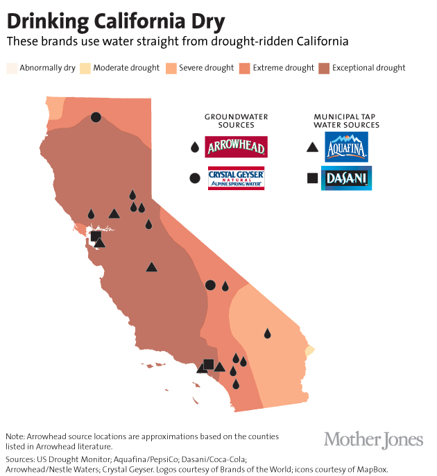 Drinking California Dry - map of bottled water aquifiers