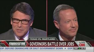 """Texas Gov. Rick Perry (R) and Maryland Gov. Martin O'Malley (D) debate fiscal policy on CNN's """"Crossfire."""""""