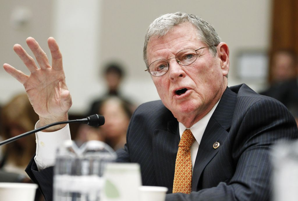 "Sen. James Inhofe, R-Okla., testifies on Capitol Hill in Washington, Wednesday, Feb. 9, 2011, before the House subcommittee on Energy and Power hearing on the ""Energy Tax Prevention Act of 2011. (AP Photo/Manuel Balce Ceneta)"