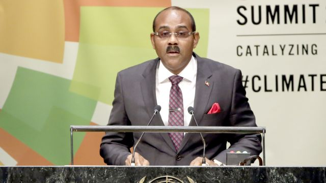 Prime Minister Gaston Browne, of Antigua and Barbuda, addresses the Climate Summit at United Nations headquarters, Tuesday, Sept. 23, 2014. (AP Photo/Richard Drew)