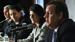 Indiana Gov. Mike Pence, far left, Wisconsin Gov. Scott Walker, second from left, South Carolina Gov. Nikki R. Haley, second from right, listens as New Jersey Gov. Chris Christie, far right, speaks during a news conference at the Republican Governors Association's quarterly meeting on Wednesday May 21, 2014 in New York. (Photo by Bebeto Matthews/AP)